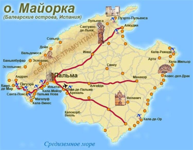 Map Of Spain Pictures And Description Of Attractions In Palma De