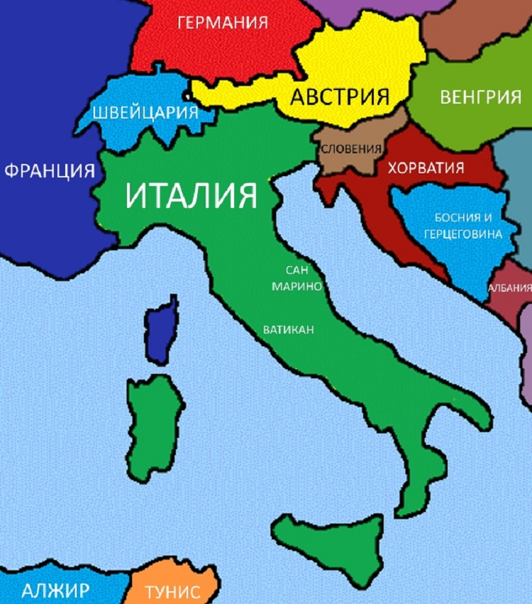 Map Of Italy And Neighbouring Countries.Map Of Italy With Towns And Resorts In Russian Where In The World