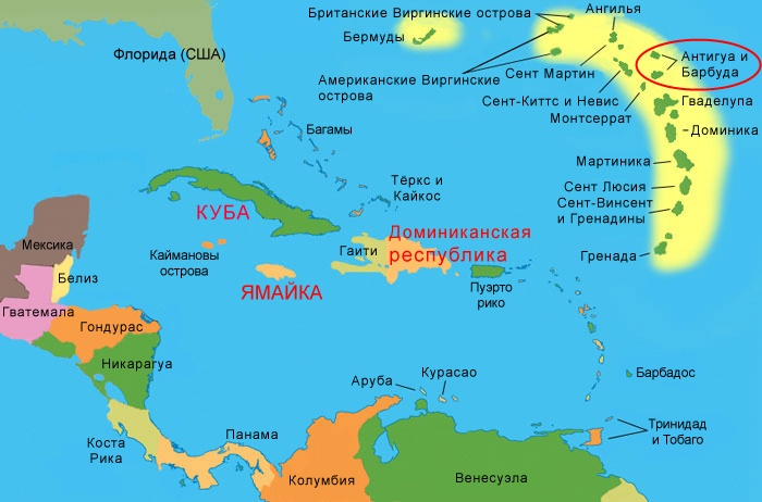 Antigua And Barbuda On The World Map Where Is How To Get From Moscow